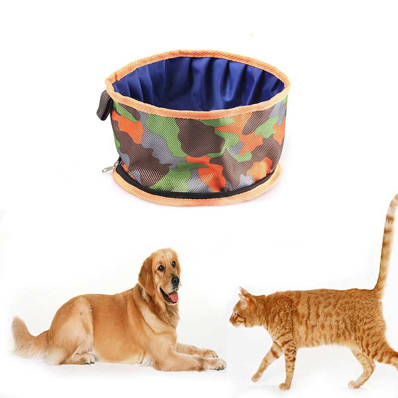 Pet Dog Bowls Camouflage Collapsible Portable Puppy Cats Drinking Food Bowl Waterproof Pet Folding Outdoor Travel Feeder
