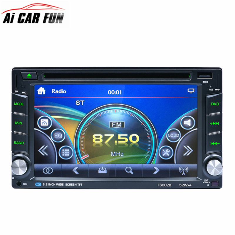 Car Video Player 6.2 inch F6002B HD Touch Screen Wireless Remote Control 2-DIN Car In Dash Radio Bluetooth DVD CD MP5 Player rungrace rl 257wgdr02 6 2 inch lcd digital touch screen dvb t in dash car dvd player