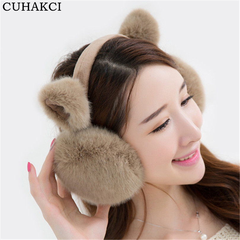 CUHAKCI Women Earwarmer Rabbit Winter Earmuffs Women Warm Fur Earmuffs Lovely Ear Warmers Gifts Cover Ear Folding E010