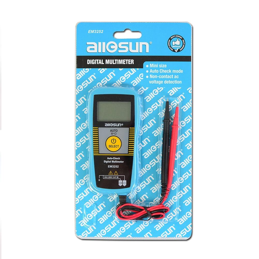 ALL SUN EM3252 Auto Ranging Pocket Multimeter Digital Voltmeter Resistance Frequency Capacitance Continuity 7-Modes Tester