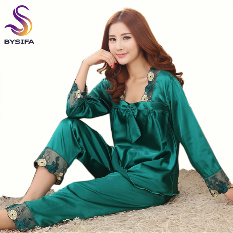 [BYSIFA] Summer Ladies Nightgown   Pajamas     Set   Home Apparel Sleep Lounge Women Dark Green Embroidery Silk Sleepwear Long Sleeves