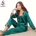 [BYSIFA] camisón de verano para damas conjunto de pijamas ropa para el hogar salón de dormir para mujer bordado verde oscuro seda ropa de dormir mangas largas