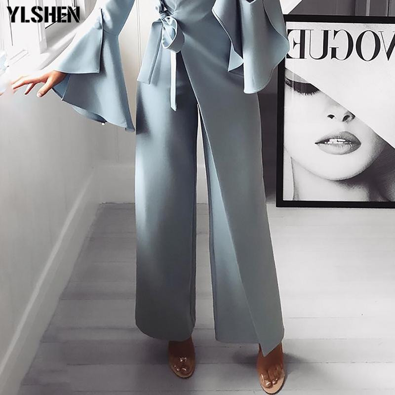 2019 African   Jumpsuit   Women Elegant Long Sleeve Workwear Formal Party Romper Irregular Flared Sleeve Knot Side Wide Leg Overalls