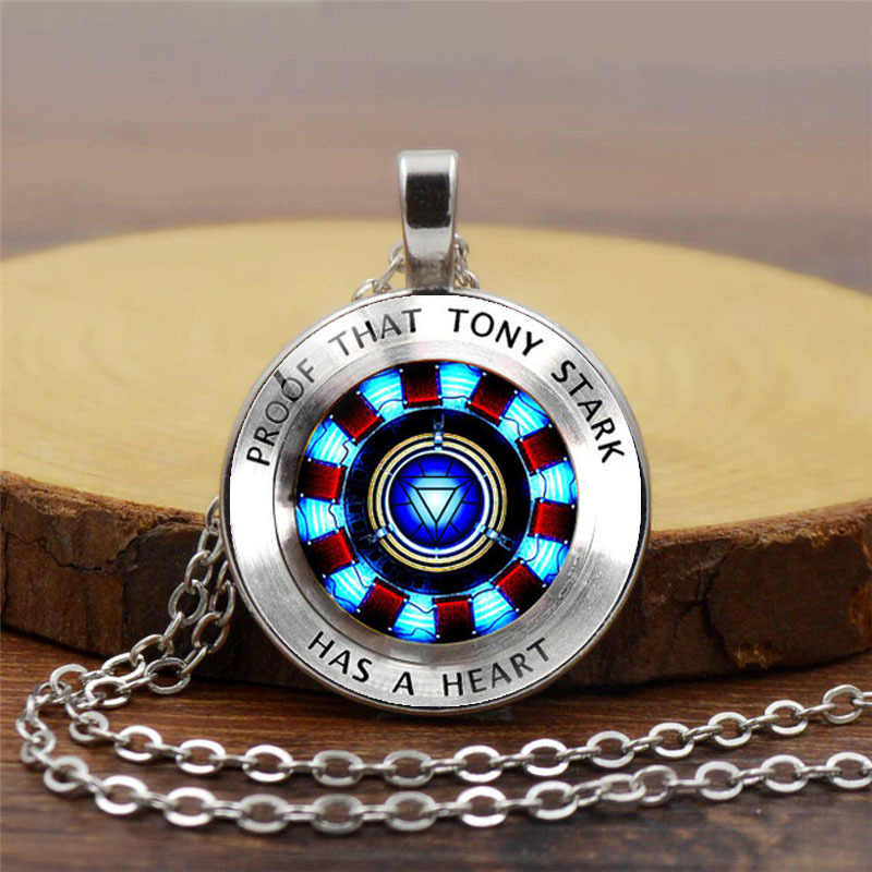 Marvel Iron Man Tony Stark Arc Reactor Necklace Glass Cabochon Pendant The Avengers 4 Endgame Quantum Realm Film Souvenir 2019
