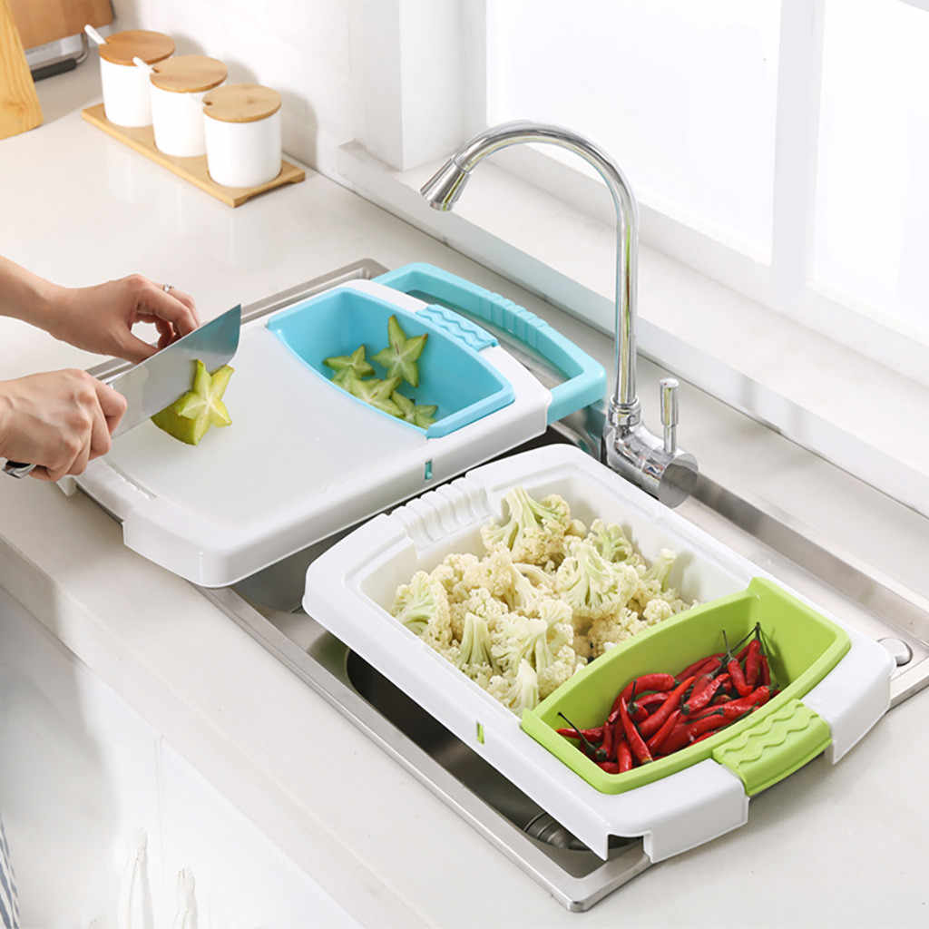 Multi-function Kitchen Cutting Board 3-in-1 Storage Basket Vegetable Fruit Drain Rack Household Sink Food Holder