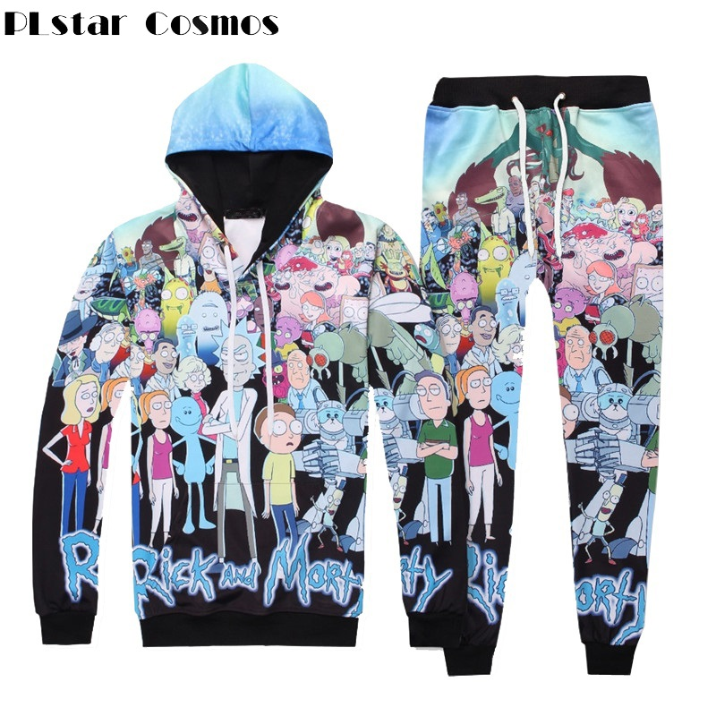 PLstar Cosmos Fashion Men/Women Rick And Morty 3d Print Hoodies And Pant 2 Piece Set Top And Pants Unisex Autumn Tracksuit