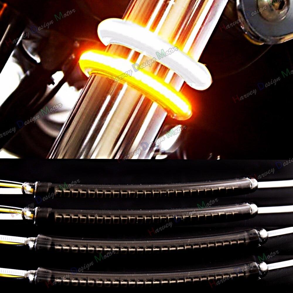 LED 39 мм-41 мм Вилы поворотов и днем Бег свет Наборы и копченой объектив для Harley победы мотоцикл