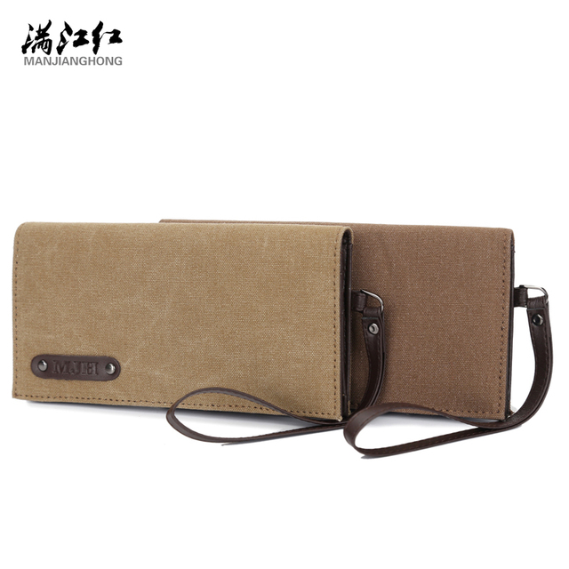 Long Men's Wallet Canvas Single Zipper Wallet Mobile Bag Man's Canvas Wallets Cards Holder 1328