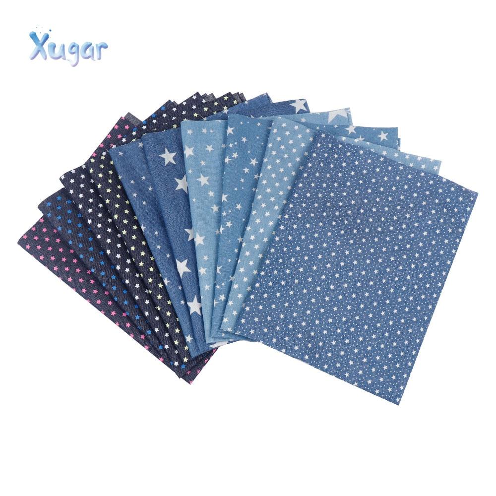 Xugar 40CM*50CM Soft Denim Fabric Multi-Style Star Printed Cowboy Clothes Quilt DIY Skirt Jeans Handmade Sewing Materials