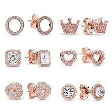 BAOPON, новейшие серьги-гвоздики из розового золота для женщин, круглые серьги с короной и любовью, ювелирные изделия, подарок на день рождения, не вызывает аллергии