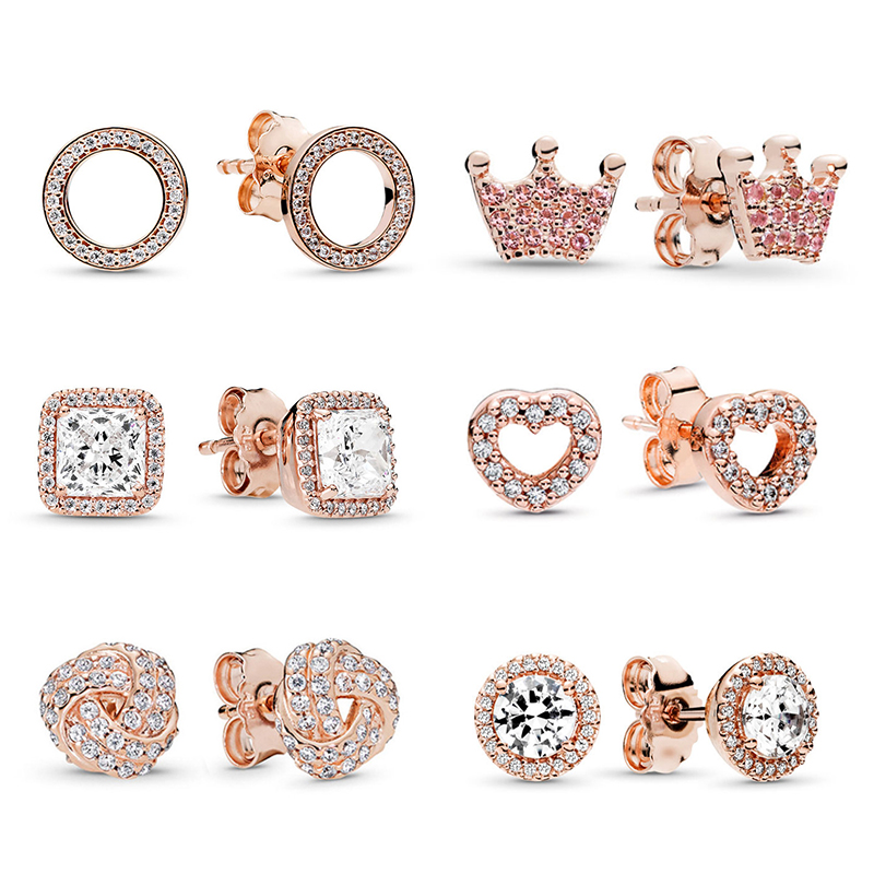 BAOPON Newest Rose Gold Fine Stud Earrings For Ladies Women Crown Love Round Earrings Jewellery Birthday Gift Anti Allergy