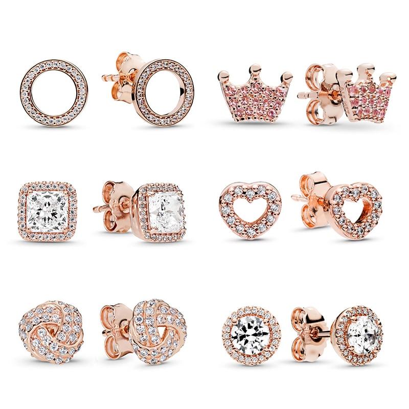BAOPON Newest Rose Gold Fine Stud Earrings For Ladies Women Crown Love Round Earrings Jewellery Birthday Gift Anti Allergy
