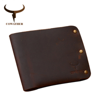 COWATHER Newest 100 Cow Genuine Leather Men Wallets Crazy Horse Leather Purse Dollor Price Carteira Masculina