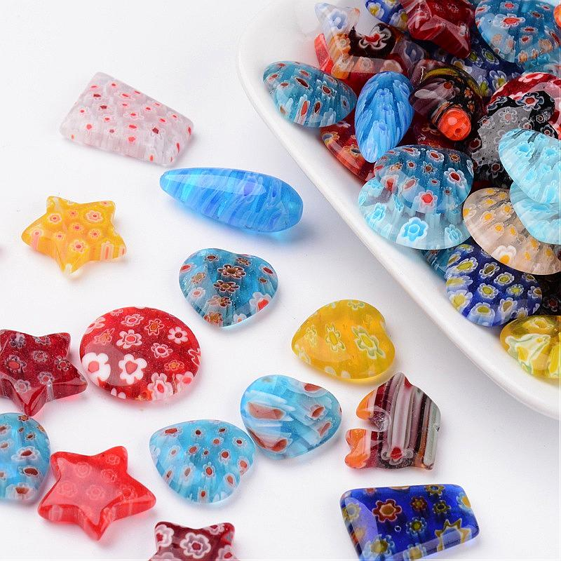 200g Mixed Millefiori <font><b>Glass</b></font> Flower Loose <font><b>Glass</b></font> <font><b>Beads</b></font> Spacer for Jewelry Making 16-33x9-25x4-8mm image