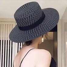 2019 summer fashion Hepburn wind black white striped bow sun hat beautiful female straw beach large cap visor
