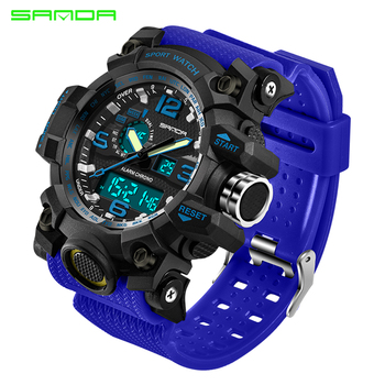 SANDA military watch waterproof sports watches men's LED digital watch top brand luxury clock camping diving relogio masculino 1