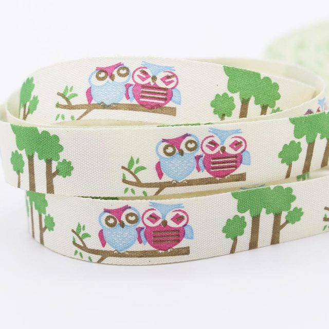 Zakka 15mm Kawaii Owl Pattern Cotton Webbing Diy Sewing Printing ...