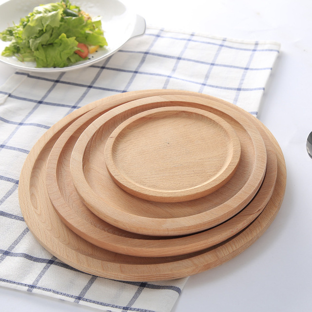 Beautiful Round Shape Original Wood Big Dinner Plate Food Fruits Dish Natural Wooden Service Kids