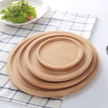 Beautiful Round Shape Original Wood Big Dinner Plate Food Fruits Dish Natural Wooden Service Kids Dining Tray