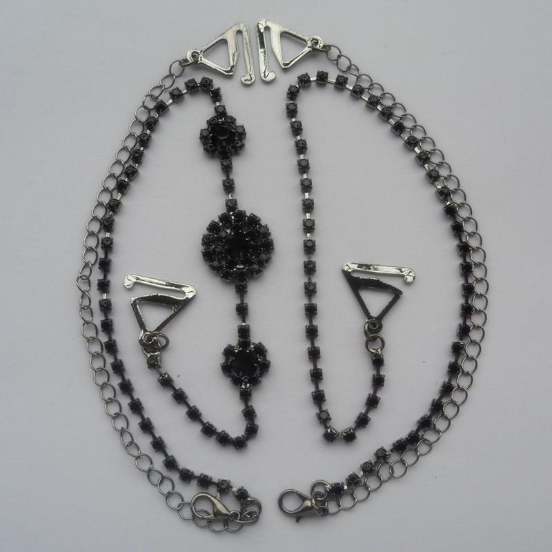 Metall verstellbarer silberner schwarzer BH-Schultergurt Strass Doppelperlen Clip Kristall Unterwäsche Schultergurt