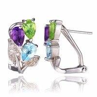 ססגוניות JewelryPalace 2.5ct אמיתי אמטיסט פרידוט טופז הכחולה כסף סטרלינג 925 קליפ על עגילים לתכשיטי נשים