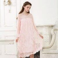 Women's Sexy Negligee Nightgown 2018 Bow Vintage Fashion Long Nightdress SpaRogerss New Ladies Sleepwear Dress Solid Color YC127