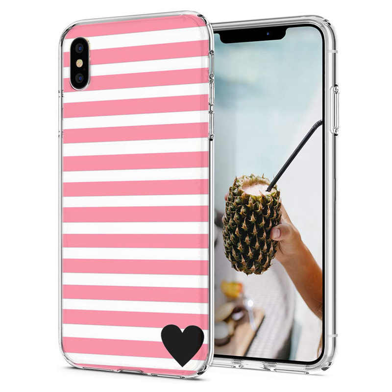Мягкий чехол для iPhone X XS XR, чехлы из ТПУ, цветная Флора, розовая в виде сердца, чехол для iPhone6 7 XS Max M083