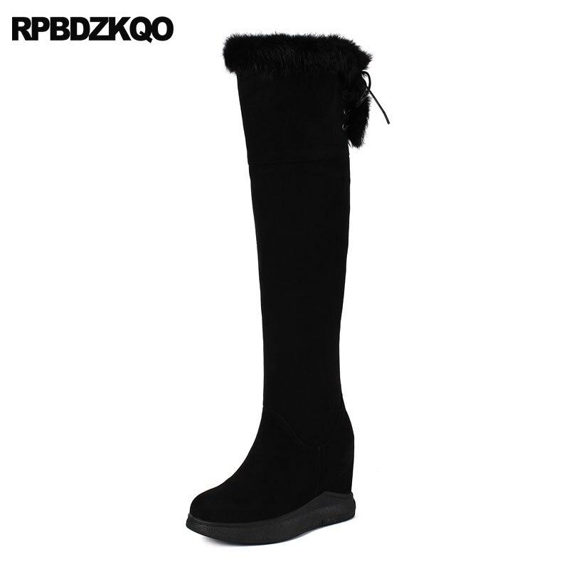 Mince Luxe Femmes 2018 Le Furry Peau Long Sole Haut black Daim Genou Cuisse En Réel Mouton Fétiche Sur Noir Chaussures White Wedge De Fourrure Noir Bottes Talon Extrême 57q1nx7z