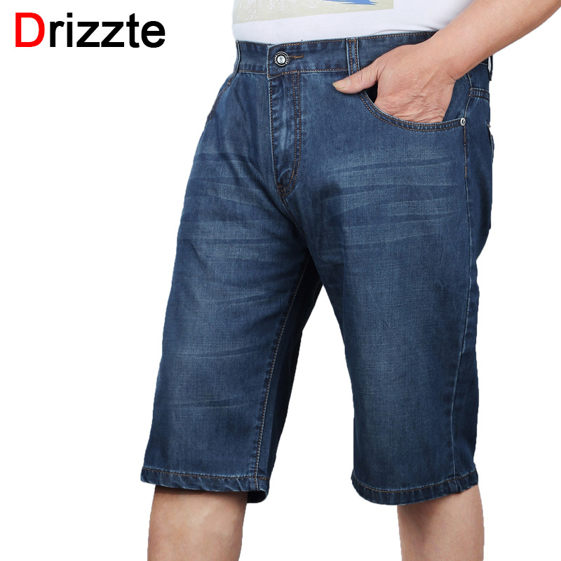 Drizzte Brand MenS 40 42 44 46 48 50 52 Plus Size Fashion Jeans Shorts Trendy Short Blue Denim Big Tall Jean Trousers Pants sulee brand 2017 mens plus size jeans stretch dark blue denim slim long trouser jean pants big and tall trendy mens clothing