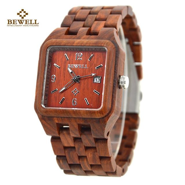 b0109a4ffc3a BEWELL sándalo Natural cuadrada reloj Auto fecha relojes moda Casual relojes  de madera para hombre relojes