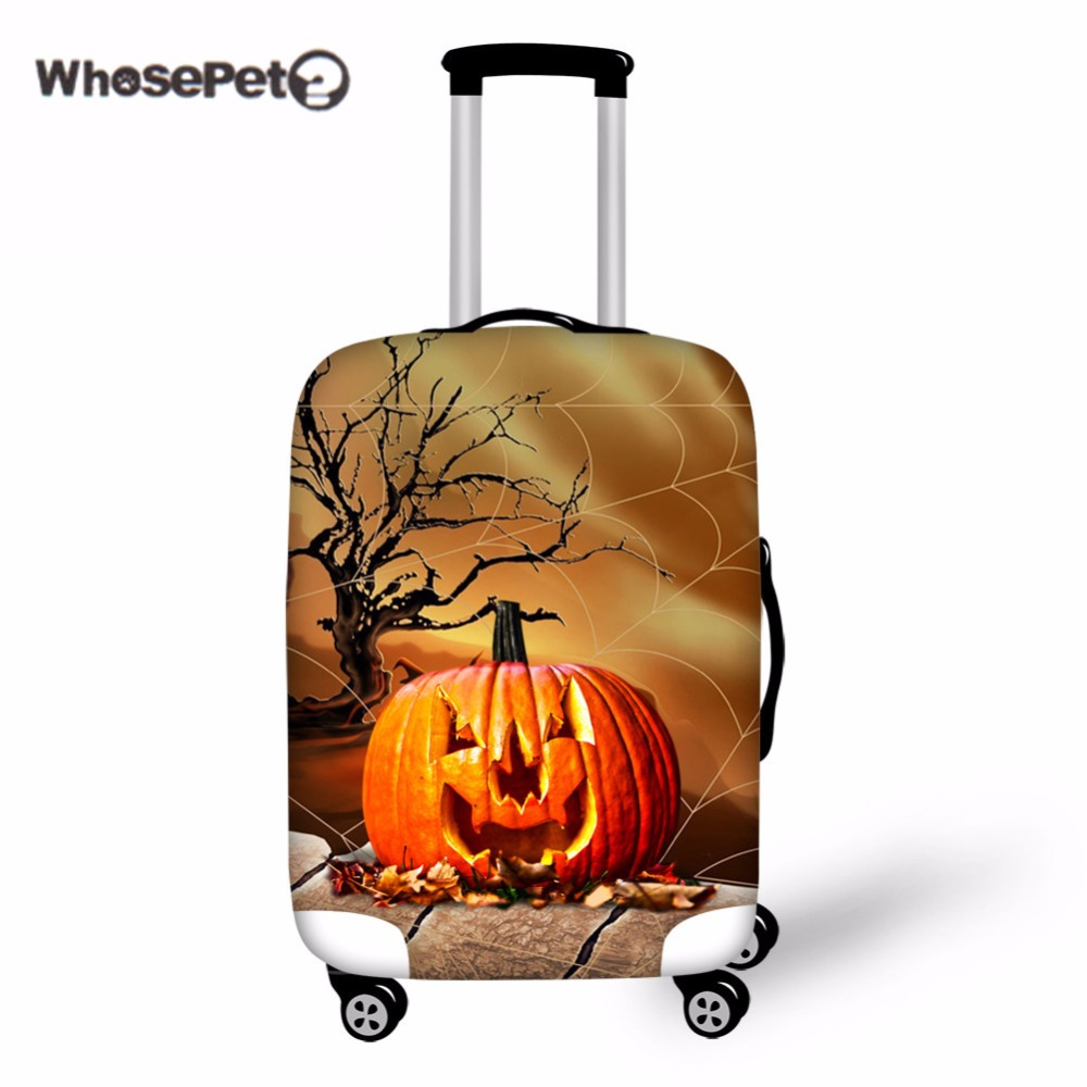 WHOSEPET Halloween Luggage Cover For Travel Trunk Pumpkin Printing Stretch Trolley Case Suitcase Covers Protective Cool Gift