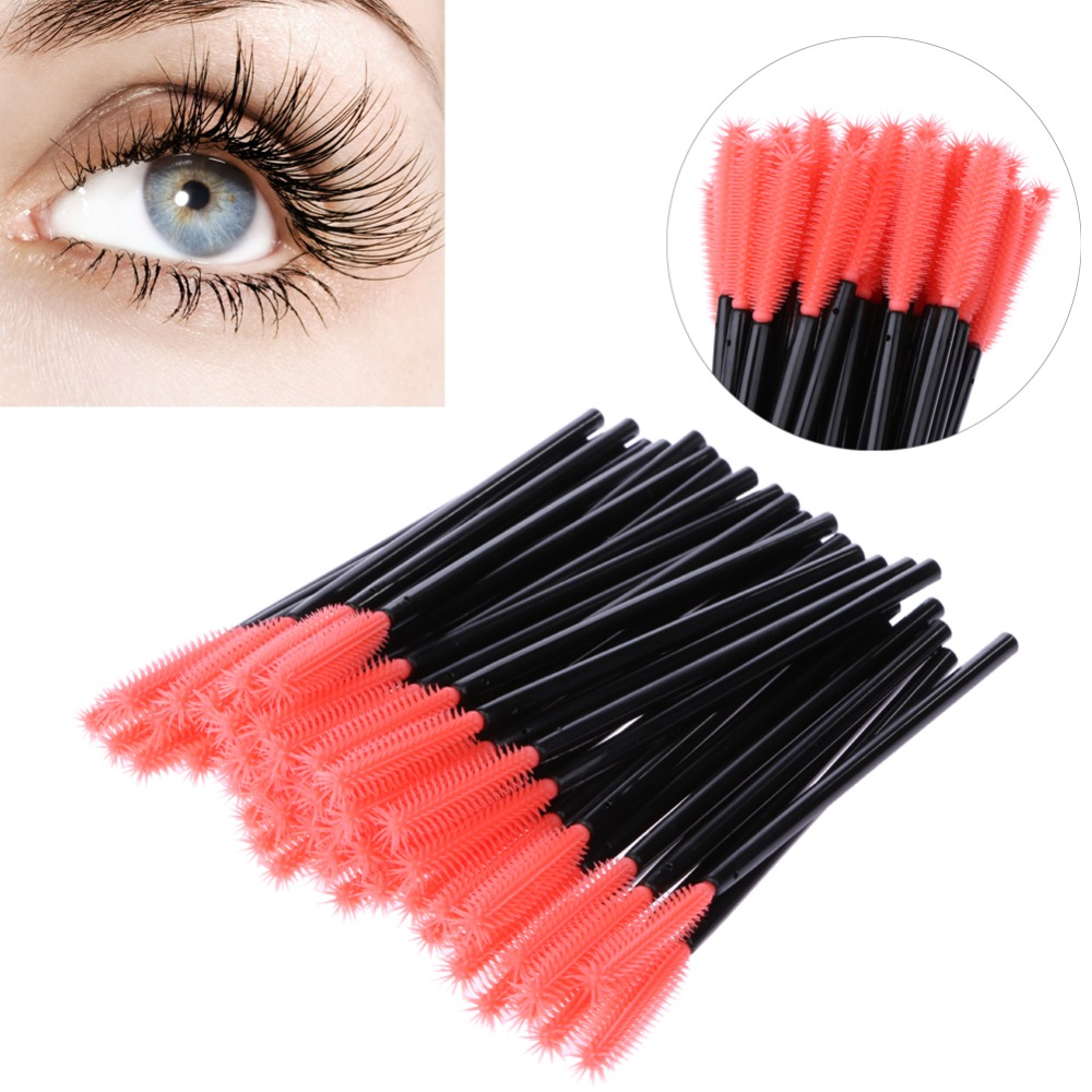 50 pcs One-Off Disposable Eyelash Brush Mascara Makeup Applicator Wand Makeup Brushes Silica Gel Professional Make Up Brushes