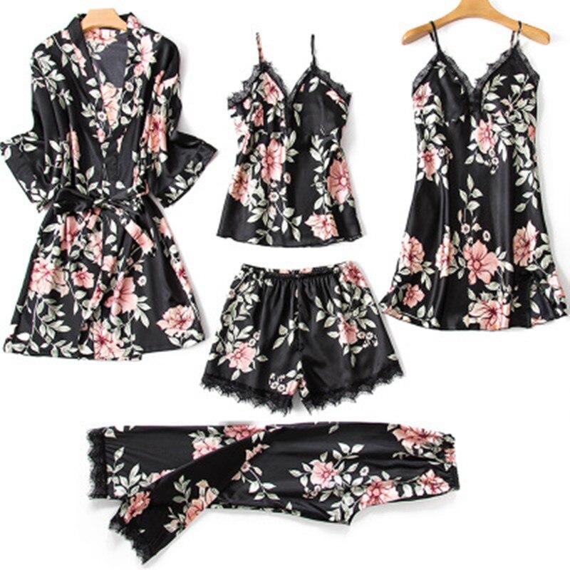 Silk   Pajamas     Set   Women Sexy Lace Print Flower Satin Pyjama Long Robe Pants Shorts 6Piece/  Set   Home Mom Sleepwear
