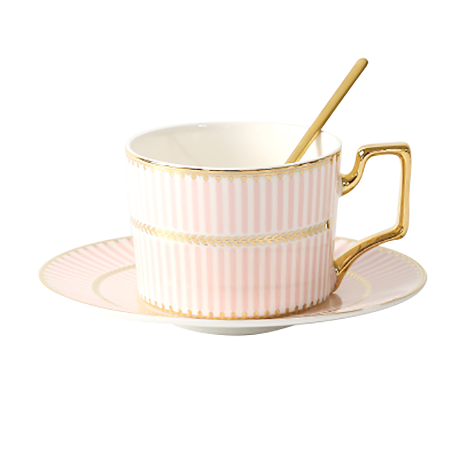 European Ceramic Coffee Cup And Saucer Set Espresso Cups High Tea Set Ceramic Tea Cup Kubek With Spoon Home WZD015