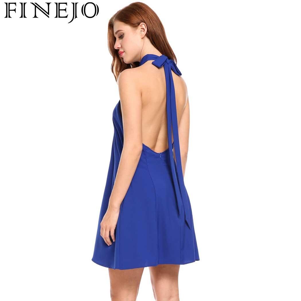 FINEJO Women Dresses Sexy Halter Bandage Sleeveless Backless Dress with Pockets Solid A-Line Pleated Hem Summer Dress Vestidos
