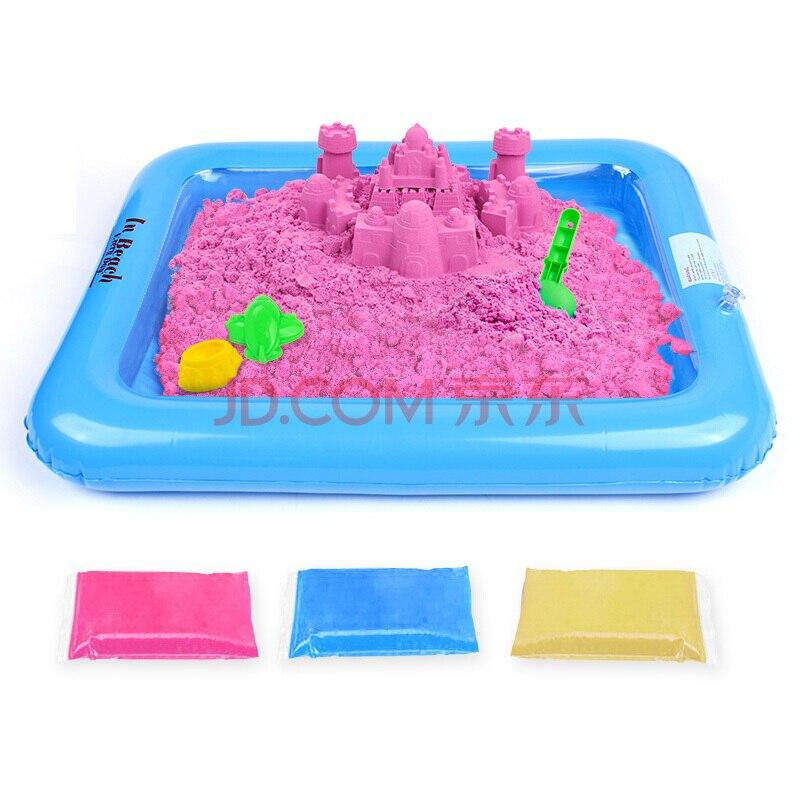 Sable magique incroyable espace jouer sable amusant petits jouets sculpte château Architecture ensemble 42 pièces moules trousse à outils, un Art sensoriel cinétique - 3