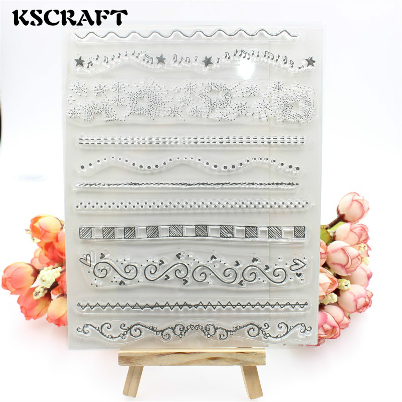 KSCRAFT Line Transparent Clear Silicone Stamps for DIY Scrapbooking/Card Making/Kids Crafts Fun Decoration Supplies kscraft butterfly and insects transparent clear silicone stamps for diy scrapbooking card making kids fun decoration supplies