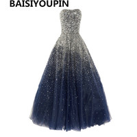 Hot Sales 2016 Sparkly Beaded Sequins Ball Gown Evening Dresses Long Robe De Doiree Longue Manche