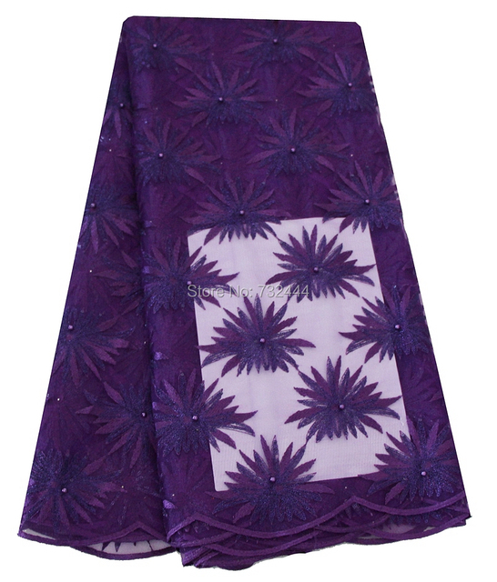 Free Shipping African Lace Fabric Purple High Quality Cheap Tulle ...