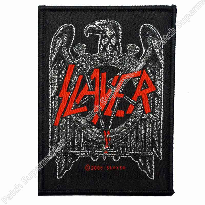 4 Slayer Black Eagle Heavy Metal music band Woven Iron On Patch Tshirt TRANSFER MOTIF APPLIQUE