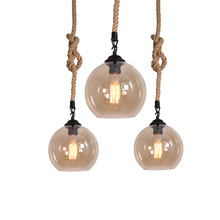 American hemp rope chandelier creative glass clothing store bar dining room lamp decoration living