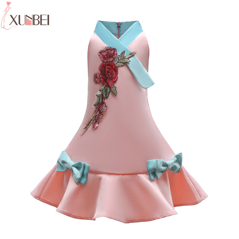 Lovely Cheongsam   Flower     Girl     Dresses   2019 Satin   Dresses   For   Girls   Appliqued Kids Prom   Dresses   vestidos infantil de festa