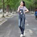 Бесплатная доставка новинка прямые брюки женские высокое качество 2016 комбинезона и джинсы с отверстиями брюки XL дамы