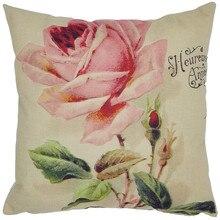 รูปแบบ pink rose ที่สวยงามหมอนเก่าสไตล์ผ้าฝ้ายลินิน cushion cover หน้าแรกโซฟาตกแต่งหมอน