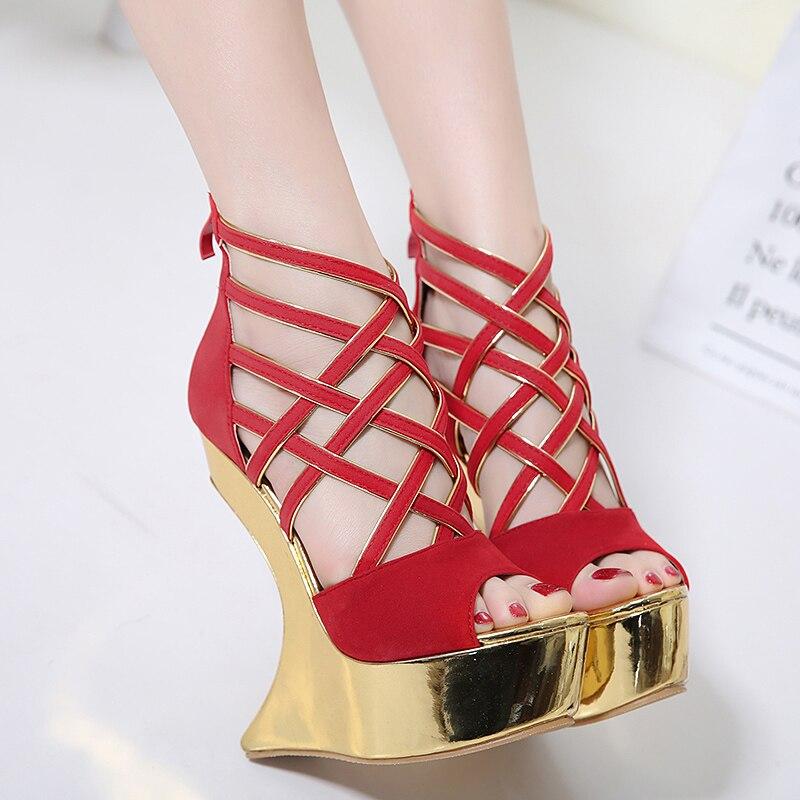 ФОТО women pumps ankle strap sandals for women Wedges sandals High Heels women summer shoes Wedges pumps red black sandals D1050