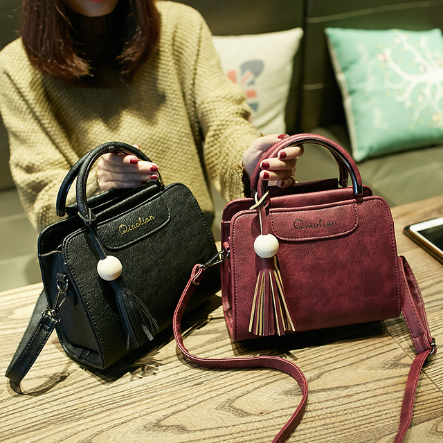 Simple flap trend tassel messenger shoulder bag