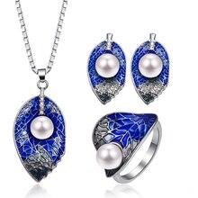 Модные роскошные изысканные эмалированные Ювелирные наборы с подвеской в виде большого листа, винтажные женские комплекты ювелирных изделий синего цвета с серебряным жемчугом и кристаллами 20