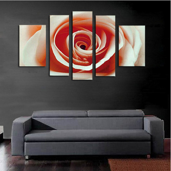 5 Pcs/set 100% Hand-painted Rose Blossom Art Decoration Oil Painting On Canvas Wall Pictures For Living Room