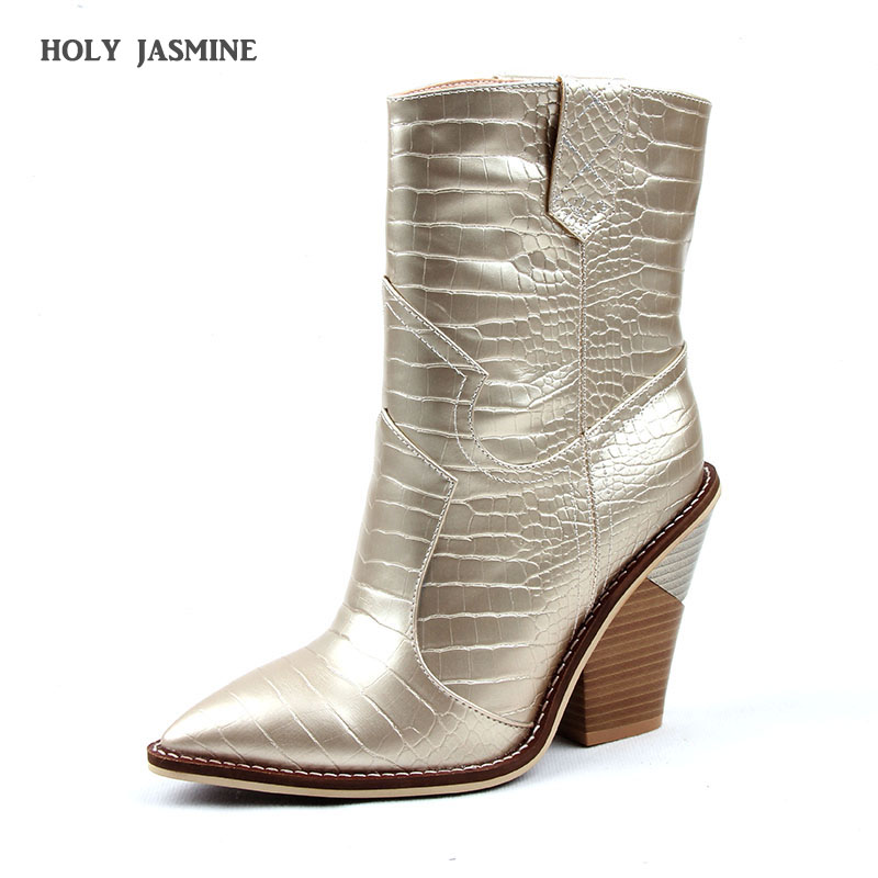 2019 New Brand Gold Silver women boots pointed toe wedges shoes autumn winter boots short ladies Western ankle boots for women in Ankle Boots from Shoes