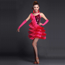 DJGRSTER New Women Sequin Feather Fringe Stage Prestationskonkurrens Ballroom Dance Costume Latin Dance Dress För Vuxna Kvinnor